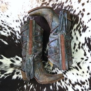 🌵Corral A3147 Braided & Fringe Cowboy Boots 8.5🌵